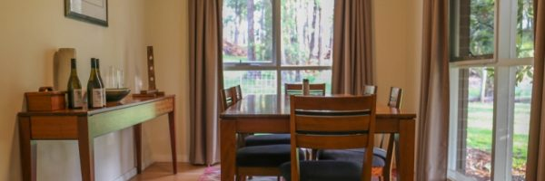comfortable, quality, dining, redwood, chairs, eating, wine, dine, accommodation near Healesville, cottage accommodation in Yarra Valley